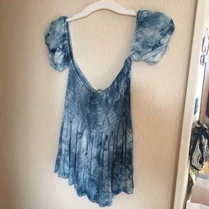 Blue tiedye blouse